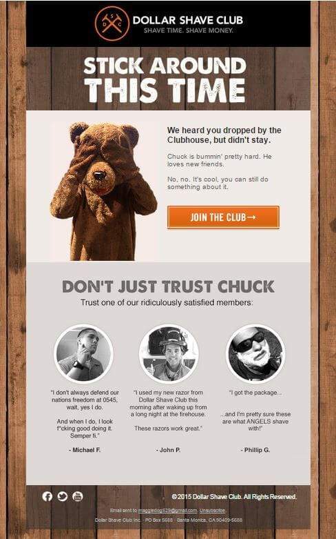 Dollar Shave Club Abandoned Cart Email Template