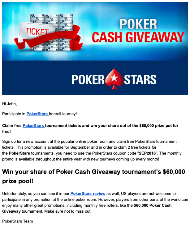 PokerStars Email Giveaway