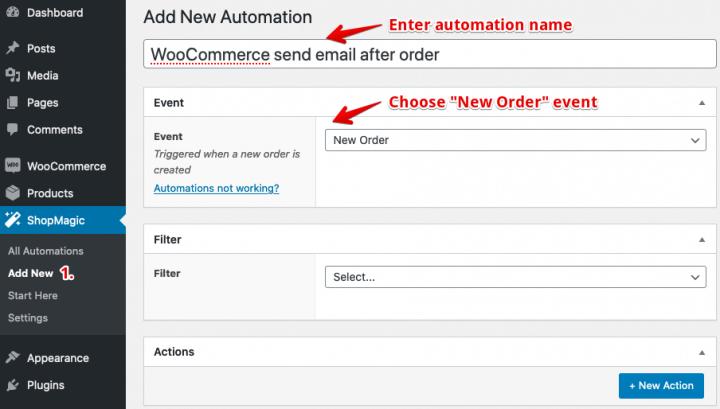 ShopMagic Add Automation Event