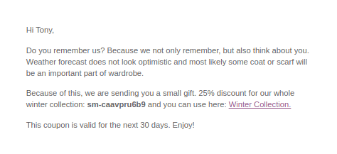 WooCommerce customer coupons email