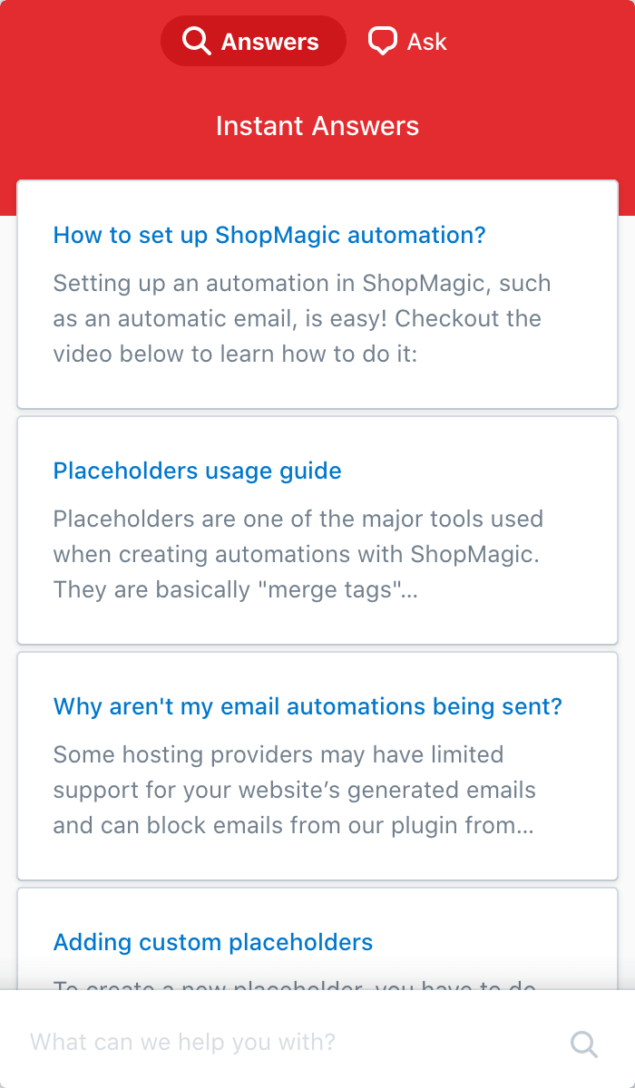 ShopMagic Contextual Help