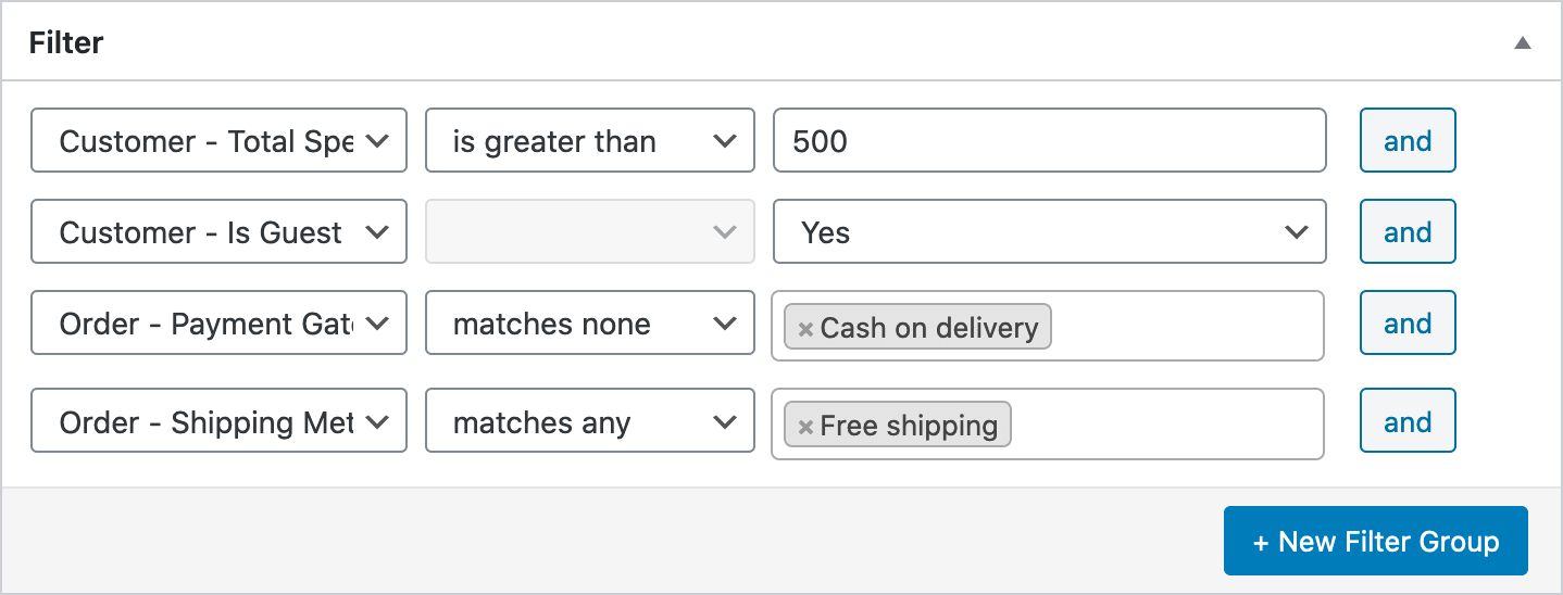 Email Filter Total Spent Guest Shipping Payment