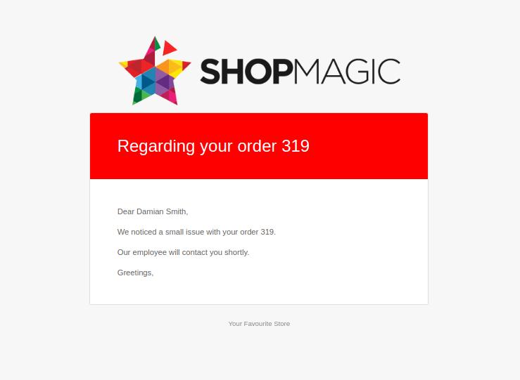 ShopMagic On Hold email