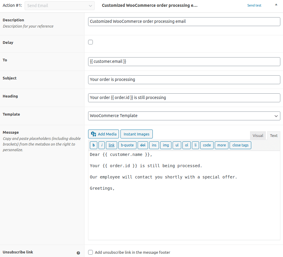 ShopMagic Triggered Email Action View