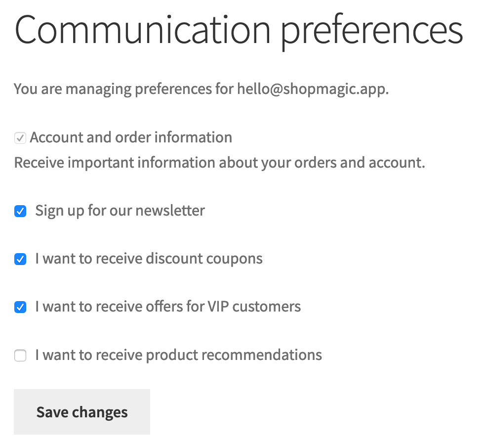Shopmagic Communication Preferences