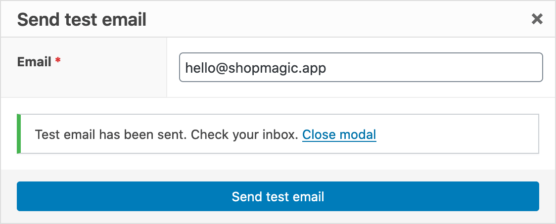 ShopMagic Send Test Email