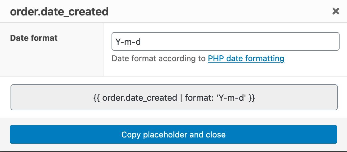 ShopMagic Date Format Placeholder