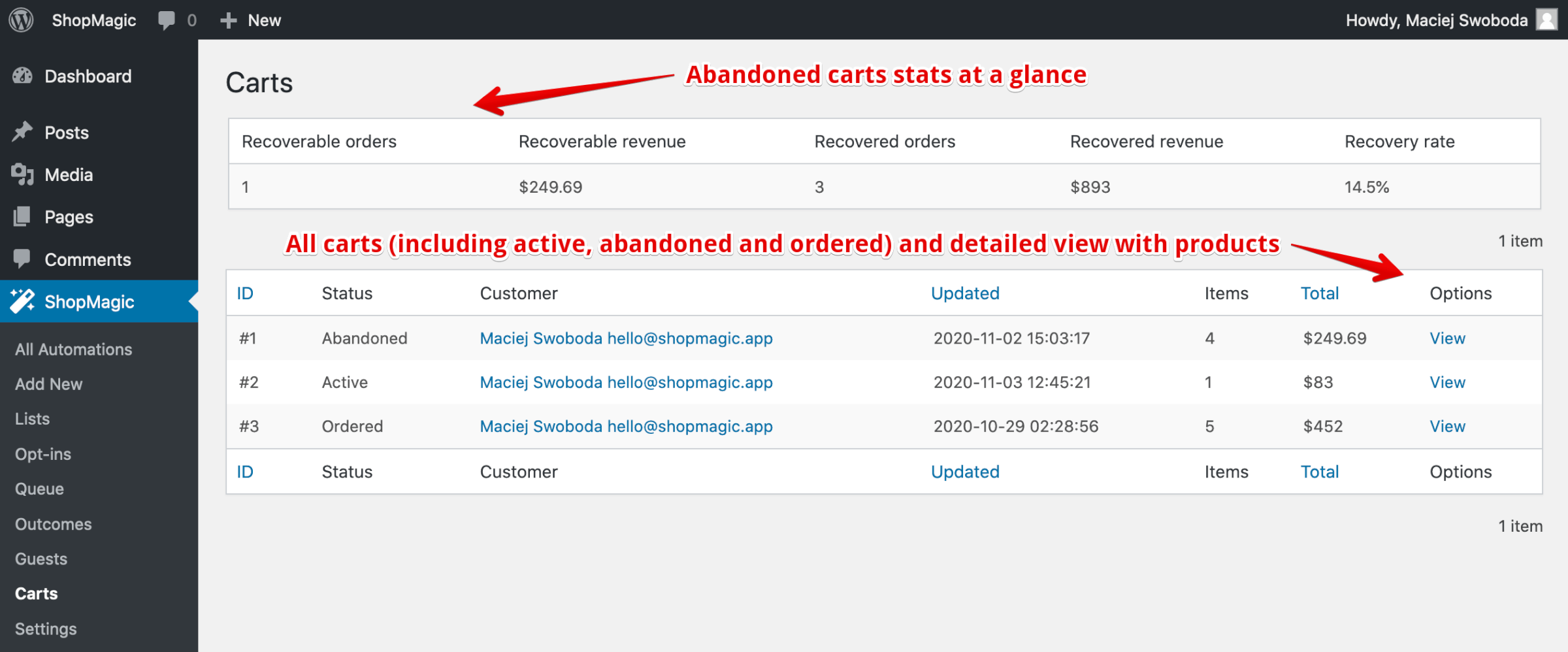 WooCommerce Abandoned Carts Analytics
