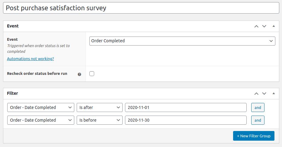 WooCommerce post purchase survey