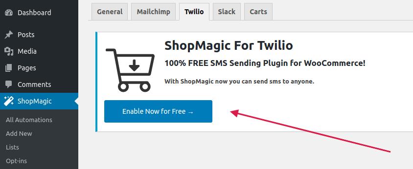 ShopMagic for Twilio settings