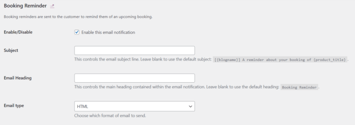 WooCommerce Bookings reminder email options