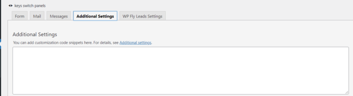 Contact Form 7 settings - additional settings tab