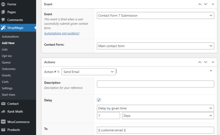 ShopMagic and Contact Form 7 integration